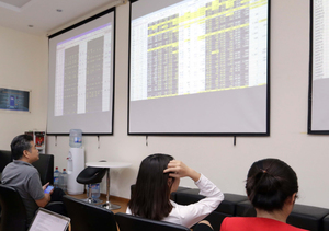 Shares down for third straight session