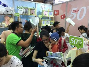 Baby products on display in Ha Noi